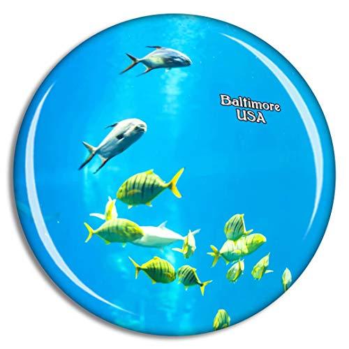 Weekino USA Amerika Aquarium Baltimore Kühlschrankmagnet 3D Kristallglas Touristische Stadtreise City Souvenir Collection Geschenk Starker Kühlschrank Aufkleber