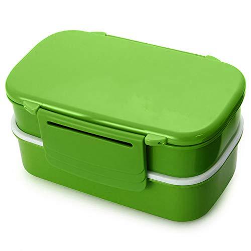 NA Microondas Bento Box Gran Capacidad de plástico Doble Bento Box Contenedor de Alimentos Bento Box 1410ml