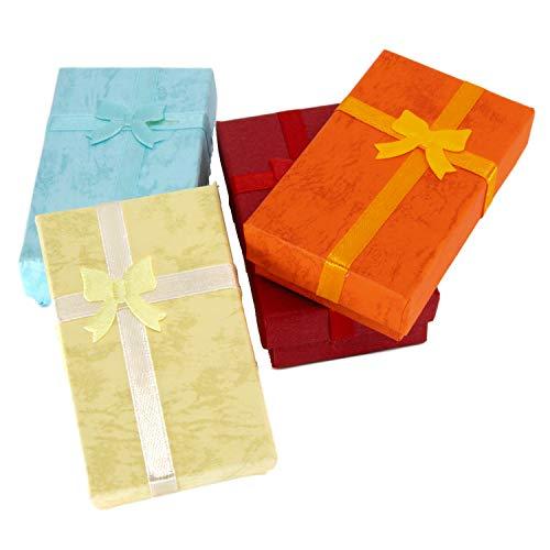 TRIXES Elegantes Geschenkboxenset mit Zierband und Schleife, rechteckig für Schmuckpäsentation