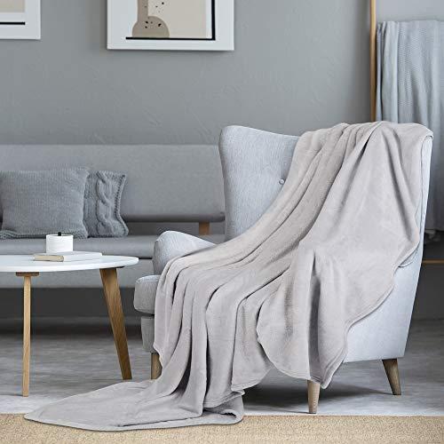 i@HOME Kuscheldecke Hellgrau Decke Sofa Flauschig und Plüsch Decken Fleecedecke als Sofadecke Couchdecke Wohndecke Weiche & Warme Sofaüberwurf Decke Wohndecken Kuscheldecken 200x220 cm