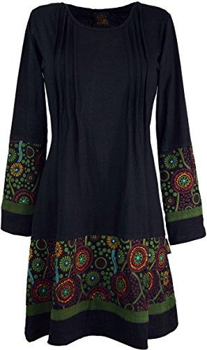 GURU SHOP Hippie Minikleid Chic, Tunika, Damen, Schwarz/grün, Baumwolle, Size:XL (42), Kurze Kleider Alternative Bekleidung
