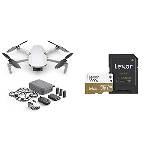 DJI Mavic Mini Combo, Drone Ultraleggero, Portatile, 12MP, Video HD 2.7K, EU Plug, e Lexar Schede Professional 1000x 64GB microSDXC UHS-II
