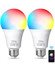 Fitop Bombilla Alexa LED Inteligente WiFi Regulable 10 W 1000 LM Lámpara, E27 Multicolor Bombilla Compatible con Alexa, Echo e Google Home, A19 90W Equivalente RGBCW Color Cambio Bombilla, 2 Pcs