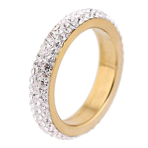 BGSH Simple Diamond Curved Ring Stainless Steel mud Diamond Ring 10 Gold Ring for Women Girls Sisters Friends Meaningful Jewelry Gift
