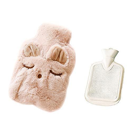 Drizzle Bolsa de agua caliente Bolsa Goma con cubierta de forro polar suave Serie de animales (Cat black)