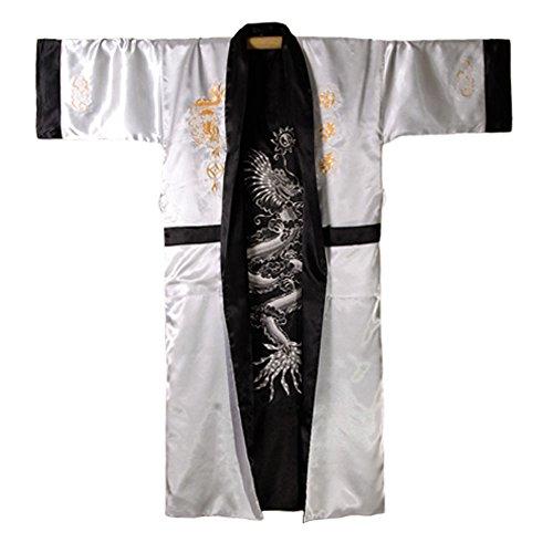 Japanischer Wende-Kimono Satin Morgenmantel für Damen & Herren mit Drachen-Stickerei Silber