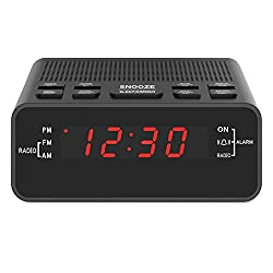 "Jingsense Digital Alarm Clock Radio, Small Alarm Clocks for Bedrooms - AM/FM Radio, 0.6"" LED Digits Dimmerable Red Display, Easy Snooze, Sleep Timer, Battery Backup"