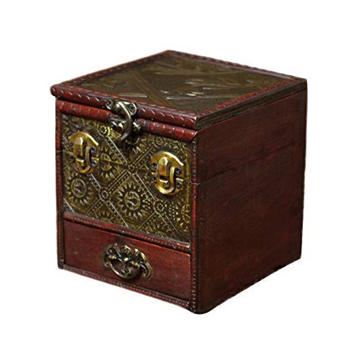 Retro Schmuckschatulle Holz, Spiegel Aufbewahrungsbox für schmuck Mit Schubladen Antik Schatzkiste Für Geschenk Spiel Requisiten-C