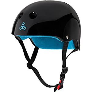 Triple Eight THE Certified Sweatsaver Helmet for Skateboarding, BMX, and Roller Skating, Black Glossy, X-Small / Small