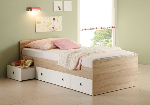 Jumbo-Möbel Kojenbett WIKI Eiche Sonoma / weiß, Bett 90 x 200