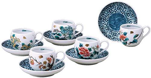 Japanische Kutani Keramik Kaffeetassen Set 5 Tassen mit Untertassen Blumenmuster auf weißem Porzellan K5-1004 Made in Japan