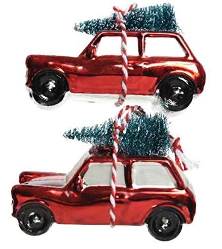 KAE - Juego de 2 Bolas de Navidad con árbol de Navidad en la Parte Superior de Cristal, diseño de Coche con árbol de Navidad (10 cm), Color Rojo y Verde