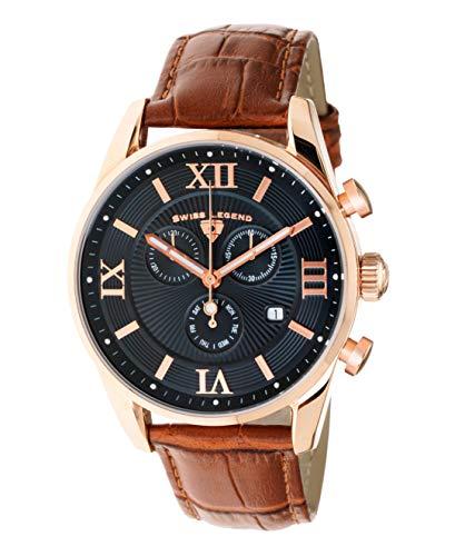Swiss Legend Belleza 22011-RG-01-BR - Reloj analógico de cuarzo suizo para hombre, esfera negra y caja de acero inoxidable de oro rosa con correa de piel marrón