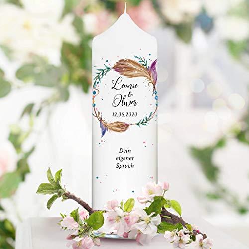 Wandtattoo Loft Hochzeitskerze Federn Kranz personalisiert mit Wunschnamen weiße Kerze zur Hochzeit/ohne Gästekerze/mit eigenem Hochzeitsspruch