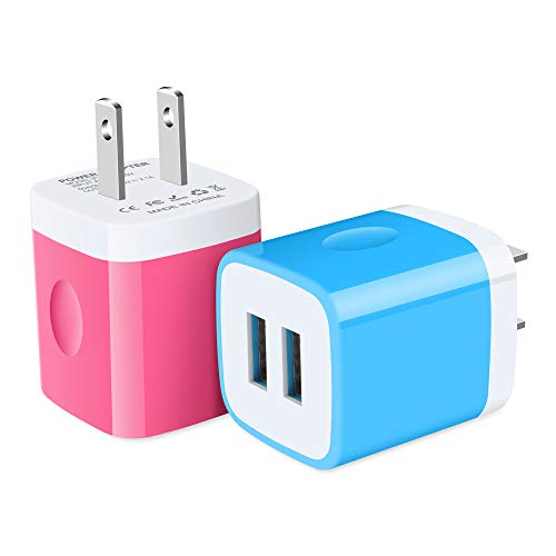 USB Charger, Ehoho Charging Block 2-Pack 2.1A Dual Port USB Power Adapter Wall Charger Plug Cube Replacement for iPhone 11 Xs Max XR X 8 7 6, Pad, Samsung Note 10 Note 20, LG K31 G8, Moto, Huawei