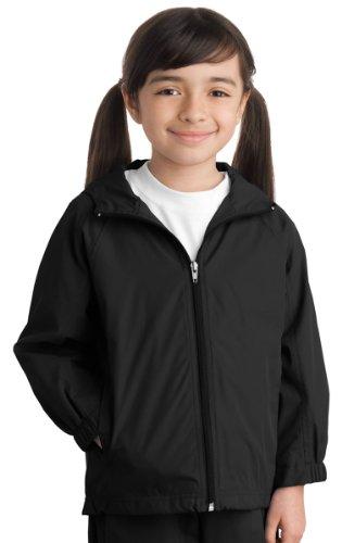 Sport-Tek Youth Hooded Raglan Jacket, Black, L