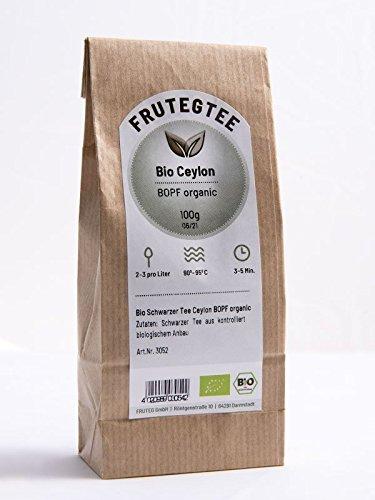 FRUTEG Bio Ceylon-Tee lose 100g I loser Schwarztee Bio aus Sri Lanka - angenehm runder & kräftiger Geschmack I aromatischer Ceylon Tea - Qualitäts-Blattgrad BOPF I Bio Schwarzer Tee lose 100 g
