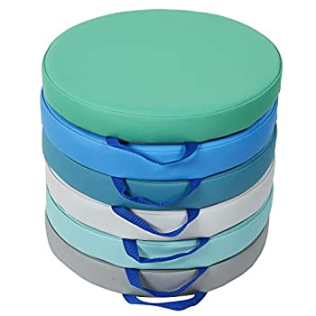 SoftScape 15 inch Round Floor Cushions with Handles  Flexible Seating for in-Home Distance Learning Daycare Preschool Classroom  2 inch Thick Deluxe Foam  6-Piece  - Contemporary