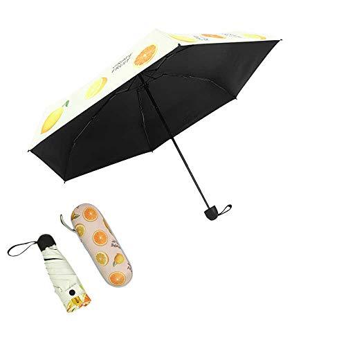 Axb Paraguas plegable, mini cápsula Patrón de fruta linda Umbrella 5 Plegable Protección solar Anti-UV UPF50 UPBRABLA Pollado plegable Umbrellara para niña con linda Caja de cápsula,Amarillo