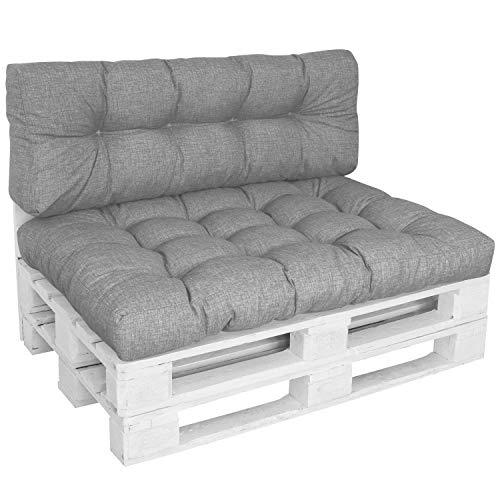 DILUMA | Palettenkissen Set Comfort 2-Teilig Grau | 1x Sitzkissen 120x80 cm + 1x Rückenlehne 120x40 cm | Wasser- & Schmutzabweisender Bezug
