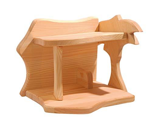 Ostheimer 5550114 Stall Krippe klein aus Fichtenholz Größe:30 x 24 x 24cm