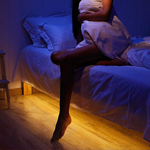 Vansky Motion Activated Bed Light, Flexible LED Strip Motion Sensor Night Light Bedside Lamp Illumination with Automatic Shut Off Timer (Warm Soft Glow)
