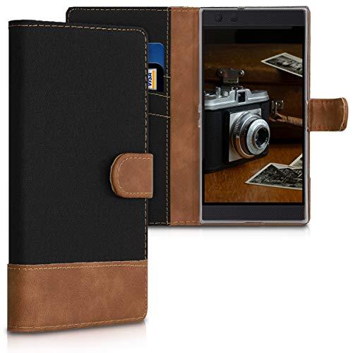 kwmobile Wallet Hülle kompatibel mit Razer Phone 2 - Hülle Kunstleder mit Kartenfächern Stand in Schwarz Braun