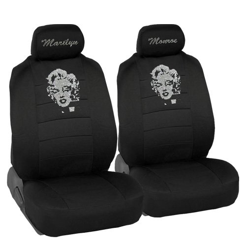Marilyn Monroe Crystal Diamond Bling Rhinestone Black Car SUV Truck Low Back Seat Covers