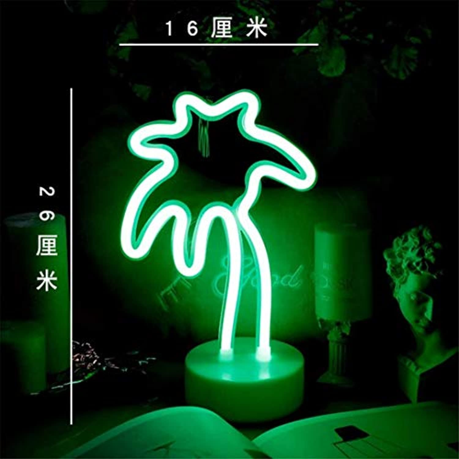 QiXian Ceiling Light Ceiling Lamps Night Lamps Led Neon Girl Room Layout Girl Heart Bedroom ins Decorative Light Lamp Coconut Tree Night Lamps