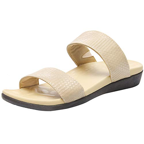 Orthopedic Sandals for Women, Plantar Fasciitis Sandals for Flat Feet Supportive, High Arch Walking Slides with Adjustable Elastic Straps size 9