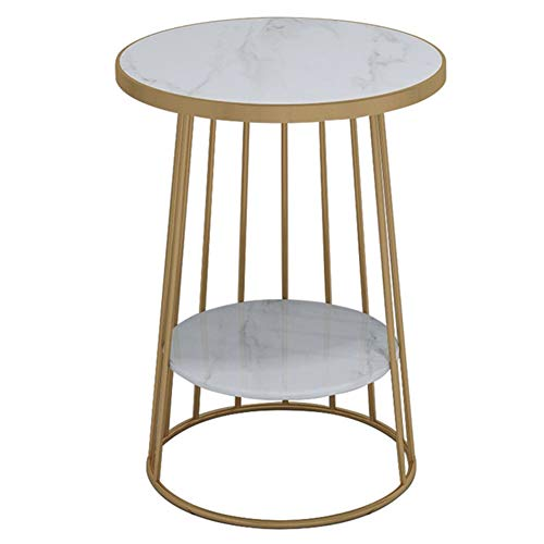 coffee table Living Room Sofa Side Table Coffee Table, Round Natural Marble Table Top End Table, Suitable for Living Room Office Small Apartment, 50×50×60 cm