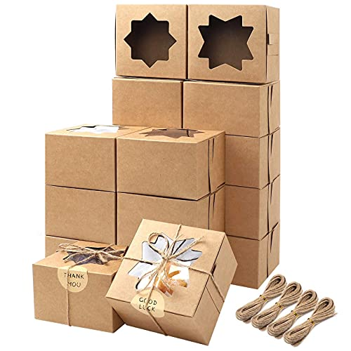 Moretoes 50pcs 4x4x2.5 Inches Brown Bakery Boxes with Window Cookie Boxes Kraft Paper Gift Boxes for Pastries, Small Cakes Cupcake Boxes