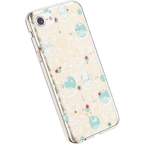 Ysimee Compatible avec iPhone 7/8 Coque Souple Clair TPU Silicone Housse Transparente Design avec Motif Peinture Fleurs Coque Ultra Fine Flexible Anti-Chocs Etui de Protection,Fleur#9
