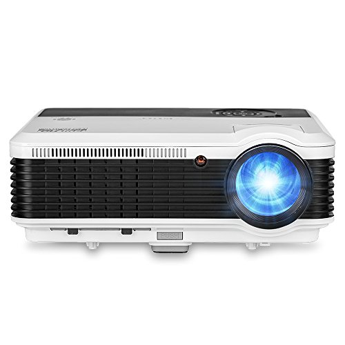LED Video Projector Portable LCD Projector 3600 Lumens Multimedia Home Theater Digital Projector Support Full HD 1080P HDMI USB VGA AV for Home Cinema TV Laptop Movie Game iPhone Andriod Smartphone