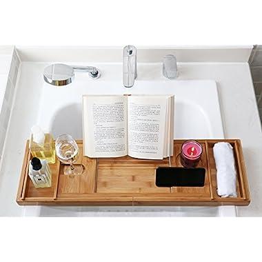 DOZYANT Luxury Bamboo Bathtub Caddy Tray - Wide Wine Glass Holder - Reading Shelf Suitable for Freestanding,Store All Bathtub Accessories - Bathtub Caddy