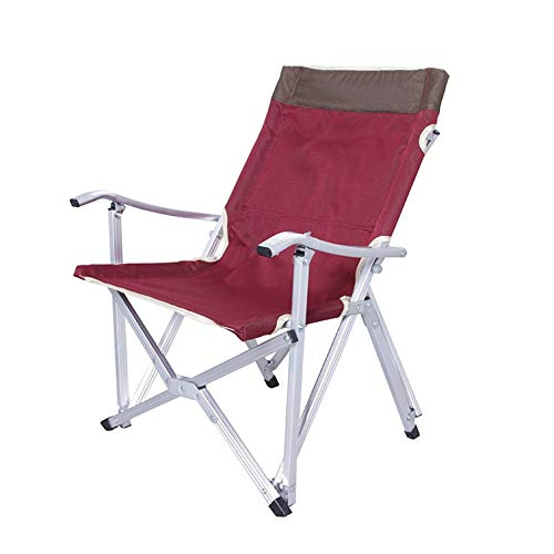 Chair Outdoor Recliner Ultra Light Suitable for Beach Folding Leisure Back Fishing (Color : Red)