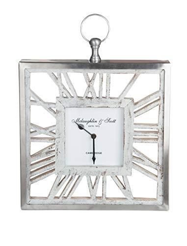 GILDE Uhr - Alu Wanduhr mit Holz für eine AA Batterie H 30 cm B 30 cm