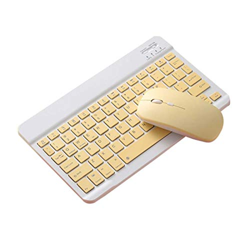 Keyboard and Mouse Set Bluetooth Mouse Keyboard Set For Ipad Mobile Phone Tablet Universal Ultra-thin Wireless Pink Keyboard Mice Set Blue Color (Color : Yellow Set)