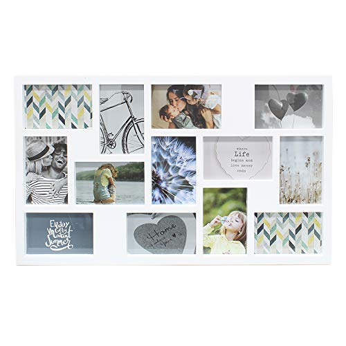 DANIEL JAMES Housewares 3D 13 Photo Frame Collage Picture Wall Mounted Multi Wedding Memories Aperture (White)
