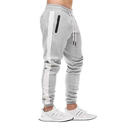 FEDTOSING Herren Jogginghose Fitness Sporthose Baumwolle Slime Fit Hose Joggers Streetwear Freizeithose Laufen Trainningshose Grau L