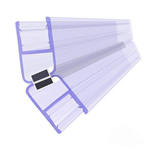 BIJON Magnet-Duschdichtung SET, Duschtürdichtung mit weißen Magneten, Dichtung Dusche Glastür für 135 Grad, 200cm, Glasstärke Duschdichtung 5mm - 6mm