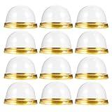 Hakka 50 cajas de plástico compuestas de base y cúpula transparente para magdalenas, galletas o muffins, dorado