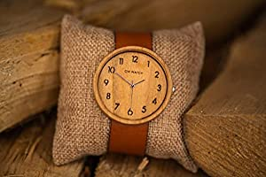 Ovi Kirsche Holz Uhr Damen mit Lederarmband, Holz Uhren Box (42mm)