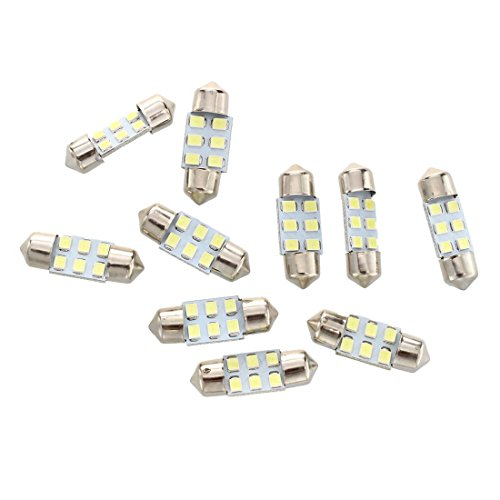 SODIAL 10 x 31mm 3528 SMD 6 LED Ampoule Lampe Dome Festoon Blanc Voiture