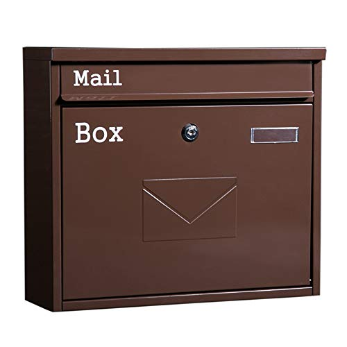 Mailbox Regendicht Retro Grote Letter Box Outdoor muur bevestigde Mailbox Met Slot for kranten en tijdschriften 36x10.5x32cm Brievenbus (Color : As shown, Size : 36x10.5x32cm)