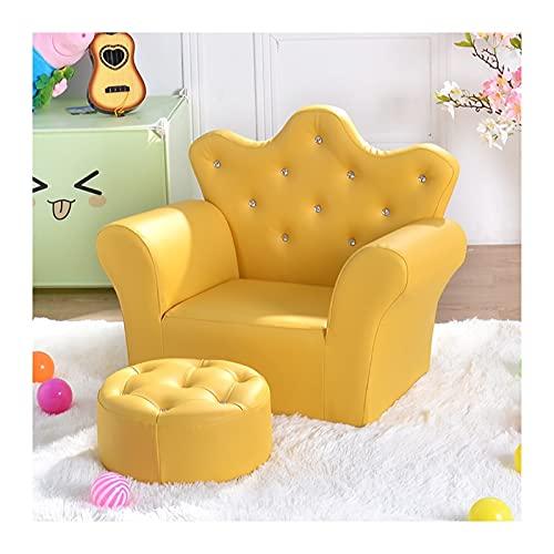JBDLDL-L Sofás Infantiles Los niños del sofá con otomana, Piel de PVC Princesa Sofá con Cristal incrustado, Perfecto for Las niñas Sillones Infantiles (Color : F)