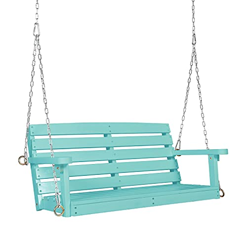 OKL Outdoor Wooden Porch Swing, Bench, 2 Seater Hanging Porch Swing Bench, Patio Swing Chair with Hanging Chains, with Slat Design for Garden, Yard, Patio, Deck,3FT