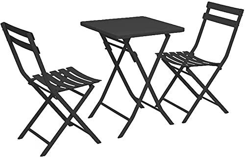FGDFGDG Conjunto de Muebles de jardín Plegable de Hierro, Conjunto de bistró 3 Piezas, 2 sillas y 1 Mesa, Usado para Jardines, terrazas, Bares, Villas, Playas, mesas de Camping de Piscina,B