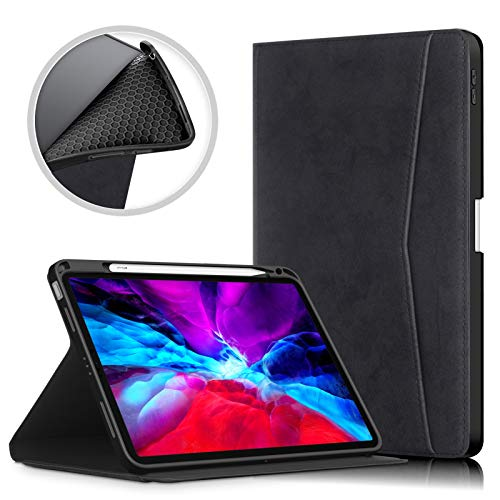 DETUOSI PU Leather Case for iPad air 4 Generation 10.9 inch (2020 Release) Tablet #Black