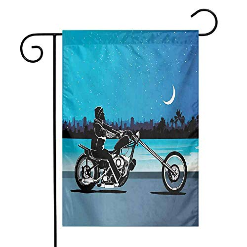 Garden Flags Double-Sided Polyester Vertical Outdoor Yard flag Motorcycle Art with Chopper Motorcycle Biker Riding Starry Night Sky Cityscape Silhouette Black Navy Home Decorative Christmas 12x18